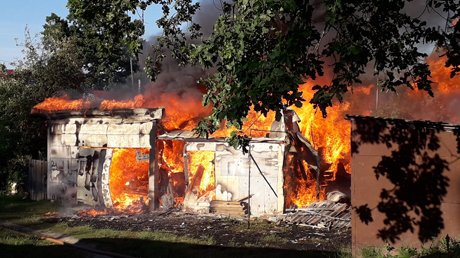 В Сурске сгорели сараи, в огне погибла собака со щенками
